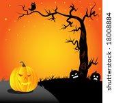 halloween  pumpkin and an owl... | Shutterstock .eps vector #18008884