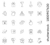 hanukkah hand drawn linear...
