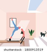 a pilates reformer   a concept... | Shutterstock .eps vector #1800913519
