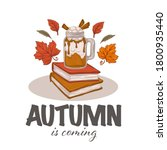 autumn latte   hot drink  books ...   Shutterstock .eps vector #1800935440