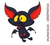 cartoon funny flying bat.... | Shutterstock .eps vector #1800946516