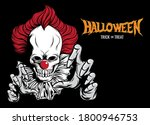 halloween with scary clown... | Shutterstock .eps vector #1800946753