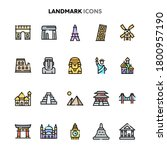 vector icons related to famous... | Shutterstock .eps vector #1800957190