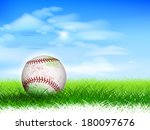 detailed used baseball on lush... | Shutterstock . vector #180097676