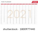 2021 pink wall yearly planner.... | Shutterstock .eps vector #1800977440