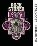 stoner rock gig poster flyer... | Shutterstock .eps vector #1800978253