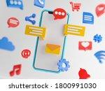 social media concept. cartoon... | Shutterstock . vector #1800991030