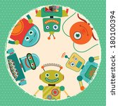 vintage retro robots card... | Shutterstock .eps vector #180100394