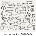 medical icons doodle vector | Shutterstock .eps vector #180100424