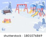 playground in winter flat color ... | Shutterstock .eps vector #1801076869