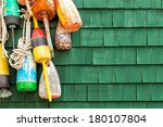 lobster buoys hanging on a... | Shutterstock . vector #180107804