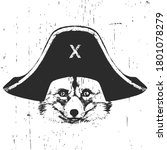 portrait of fox with a pirate... | Shutterstock .eps vector #1801078279