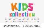 multicolored kids alphabet... | Shutterstock .eps vector #1801087063
