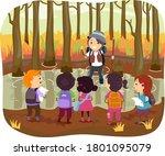 illustration of stickman kids... | Shutterstock .eps vector #1801095079