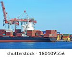 container stack and ship under... | Shutterstock . vector #180109556