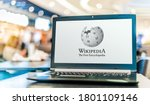 Small photo of POZNAN, POL - APR 28, 2020: Laptop computer displaying logo of Wikipedia, multilingual, web-based, free encyclopedia, owned and supported by the Wikimedia Foundation, a non-profit organization
