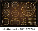 vintage ornament set. flourish... | Shutterstock .eps vector #1801121746
