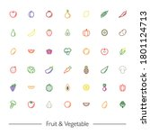fruits and vegetables vector... | Shutterstock .eps vector #1801124713