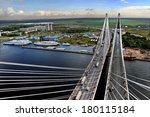 St-Petersburg, Russia -  August 31, 2007: View from the pylon cable-stayed bridge for automobile traffic, dock for river ships, river Neva, and ring road around St. Petersburg.  - stock photo