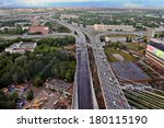 St-Petersburg, Russia -  August 31,  2007:  Construction of cable-stayed bridge across the river Neva, and the ring road, aerial view.  - stock photo