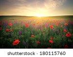 field with grass  violet... | Shutterstock . vector #180115760