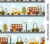 seamless pattern with cars on... | Shutterstock .eps vector #1801267696
