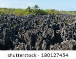 Limestone formations in Hell, Grand Cayman - stock photo