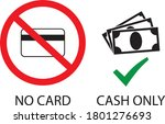 no card  only cash payment... | Shutterstock .eps vector #1801276693