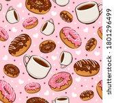 seamless pattern sweet donut... | Shutterstock .eps vector #1801296499