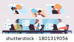 operators with headset chatting ...   Shutterstock .eps vector #1801319056