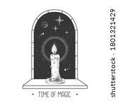 magic witchcraft open window...   Shutterstock .eps vector #1801321429