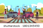 car accident. damaged vehicle... | Shutterstock .eps vector #1801345450