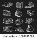 hand drawn cheese. chalkboard... | Shutterstock .eps vector #1801345609