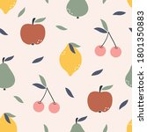 seamless pattern with fruit... | Shutterstock .eps vector #1801350883