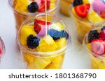 Fruit Salad In Plastic Cups....