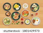 thai food and ingredient on a... | Shutterstock .eps vector #1801429573