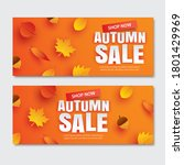 autumn fall sale with leaves in ...   Shutterstock .eps vector #1801429969
