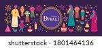 diwali hindu festival greeting... | Shutterstock .eps vector #1801464136
