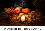 Altar Of A Pagan Witch. Female...