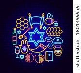 shana tova neon concept. vector ... | Shutterstock .eps vector #1801496656