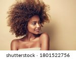 Small photo of Beauty portrait of african american woman with clean healthy skin on beige background. Skin care and beauty concept. Smiling beautiful afro girl.Curly black hair