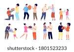 man giving flowers. couple... | Shutterstock .eps vector #1801523233