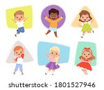 happy kids jumping. action... | Shutterstock .eps vector #1801527946