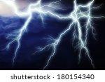 lightning showdown  in the night | Shutterstock . vector #180154340