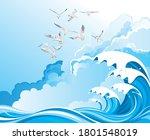Seagulls Flying Over High Ocea...