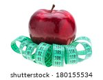 red apple and tape measure... | Shutterstock . vector #180155534