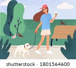 happy girl holding ice cream...   Shutterstock .eps vector #1801564600