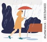 smiling girl with umbrella walk ...   Shutterstock .eps vector #1801564603