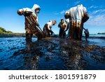 Volunteers clean the ocean...