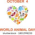 world animal day on october 4.... | Shutterstock .eps vector #1801598233